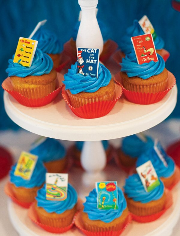 min dr. seuss books topped cupcakes