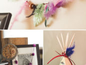 native american party decor like a mini tee-pee and feather garland