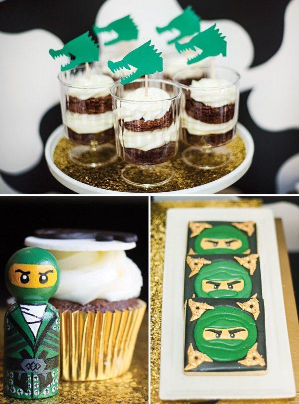 ninjago lloyd cookies & green dragon topped brownie parfaits