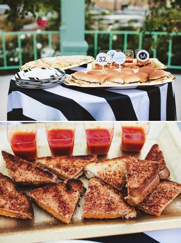 party finger food ideas like grilled cheese and tomato soup cups
