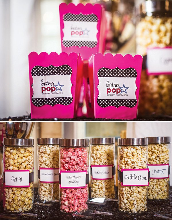 a birthday party girly popcorn bar