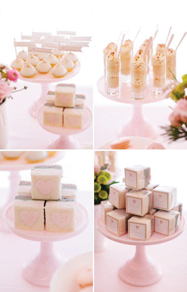 pastel pink party desserts