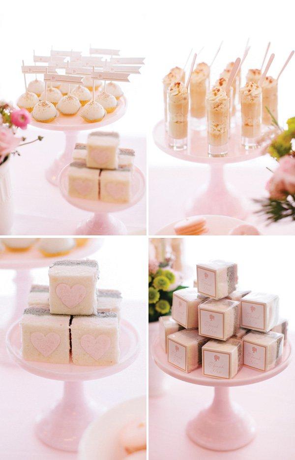 pastel pink party desserts