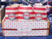 4th of July Snack - Patriotic Popcorn with Printable Popcorn Labels