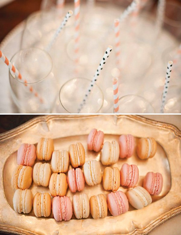 peach and pink macarons