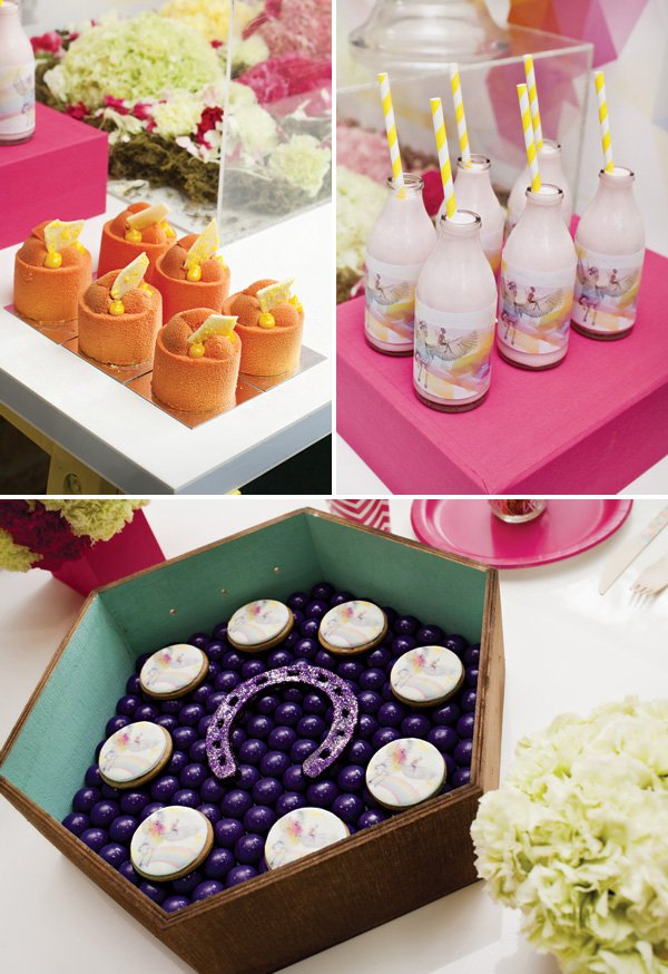 magical pegasus party desserts and glittered horseshoe