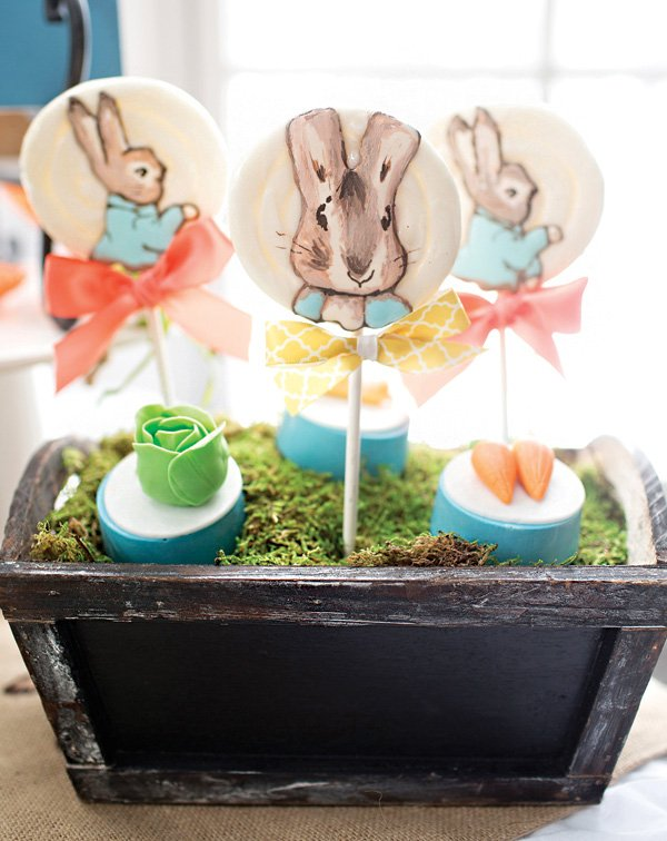 peter rabbit lollipops and fondant vegetable topped chocolate covered oreos