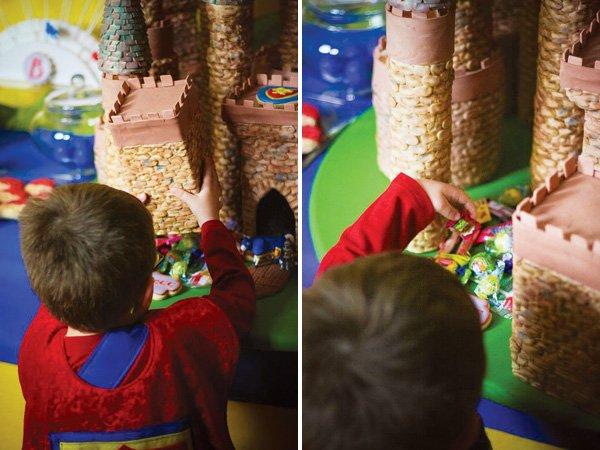 piñata castle cake pillars