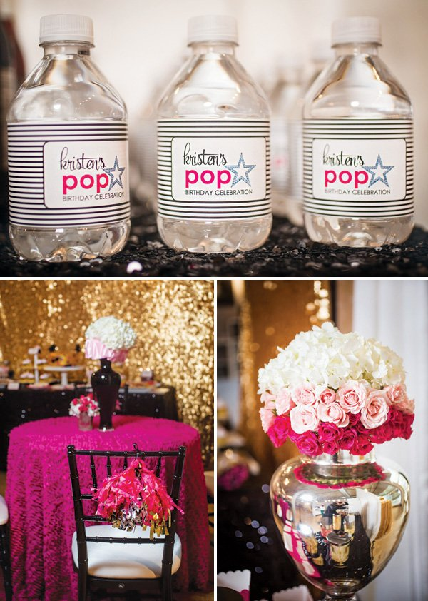 pink and black party decor