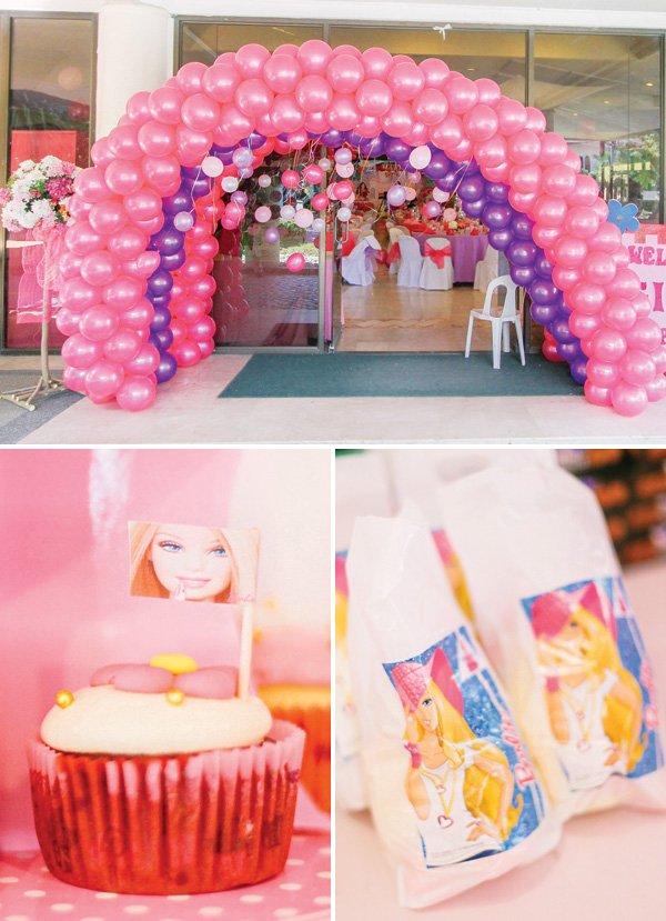 pink balloon arch entrance