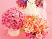 pink basket bouquet centerpieces