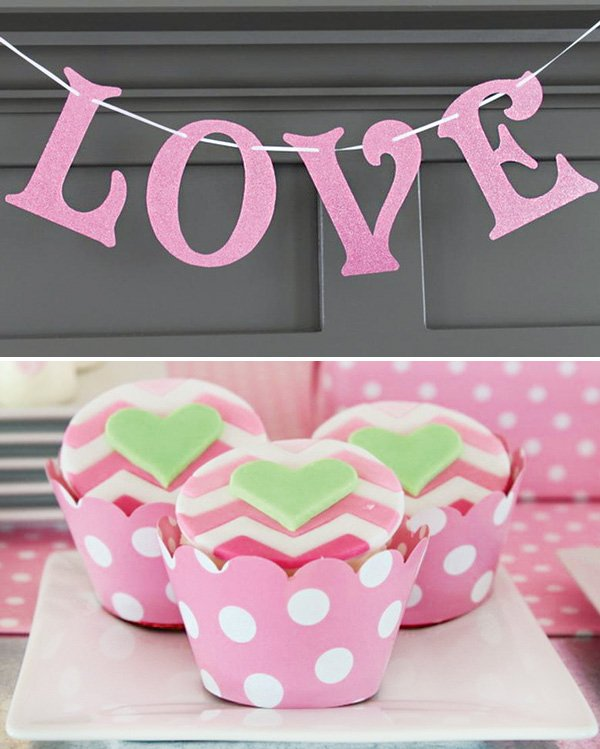 'LOVE' banner and pink chevron heart cupcakes