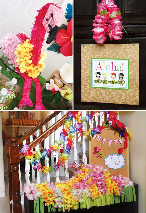 pink flamingo piñata and lei table