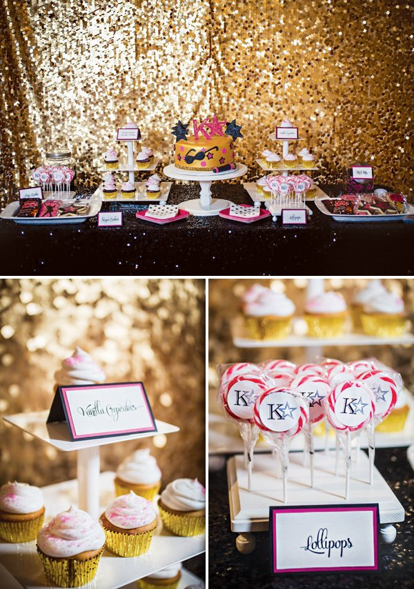 pink, gold and black pop star dessert table