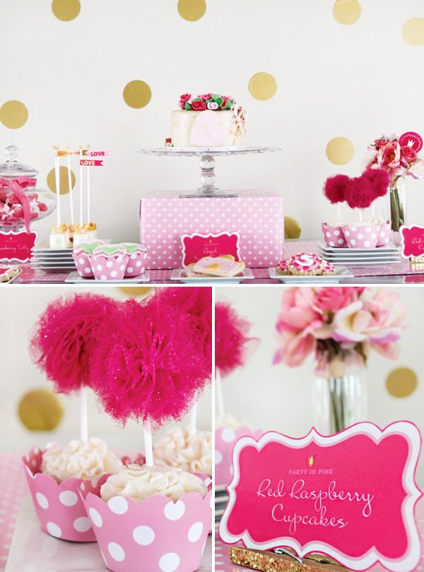 pink and gold polka dot dessert table