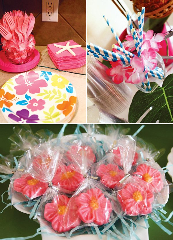 pink hawaiian flower party decor