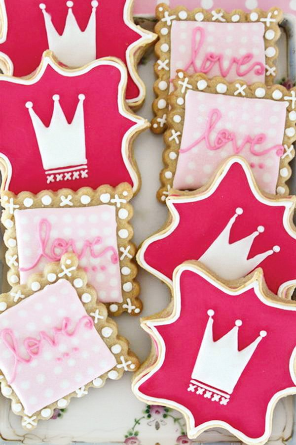 pink love and princess crown decorated cookies