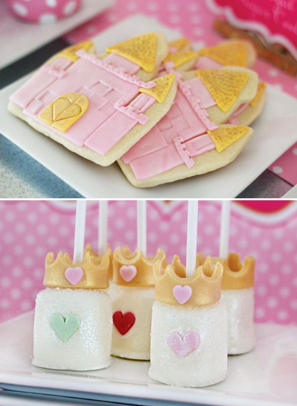 pink and gold princess castle cookies and crown topped marshmallow pops