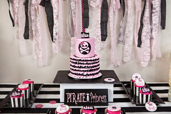 pink punk girl's pirate party