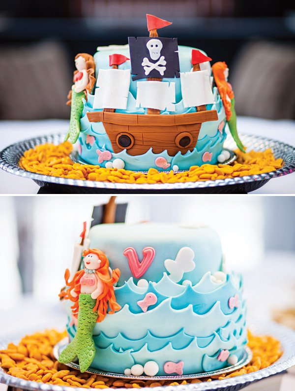 pirate ship and mermaids birthday cake