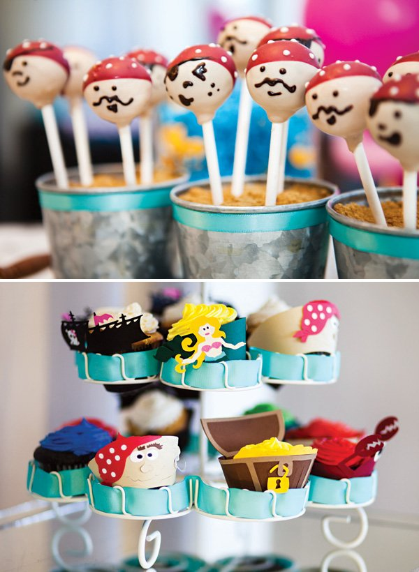 pirate cake pops and pirate and mermaid themed cupcakes