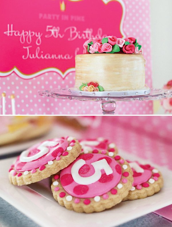 polka dot fifth birthday cookies