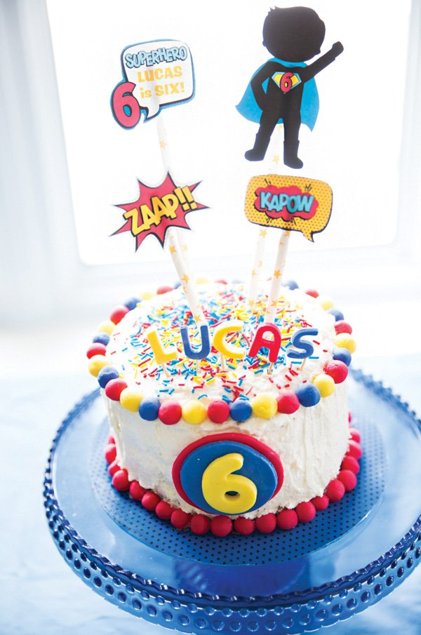 pop art super hero birthday cake