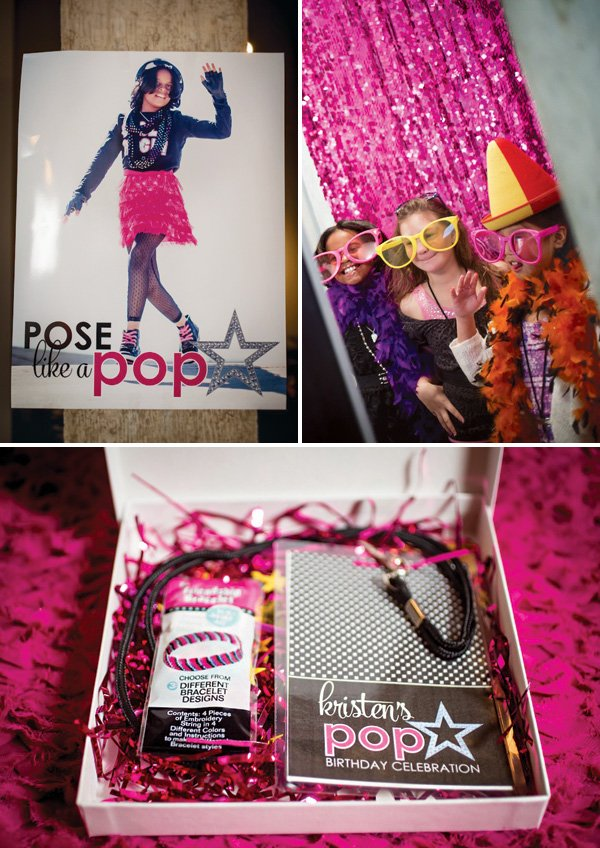 pop star birthday party posters and invitation box