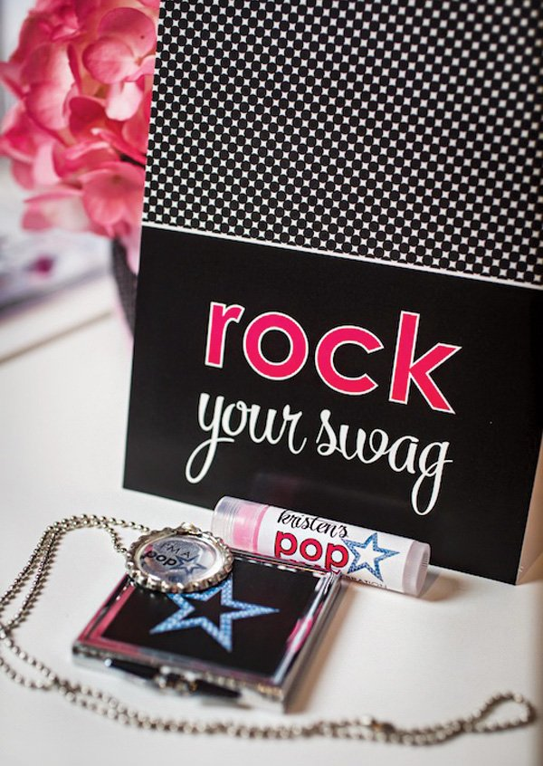 pop star swag bag party favors