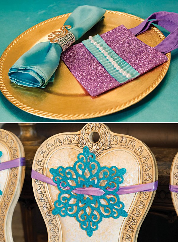 purple and blue glittery mermaid place setting