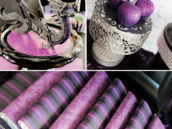 purple glitter party decor and chocolate bar wraps