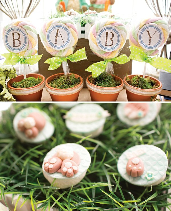 spring potted plant 'baby' sign at a rabbit themed baby shower