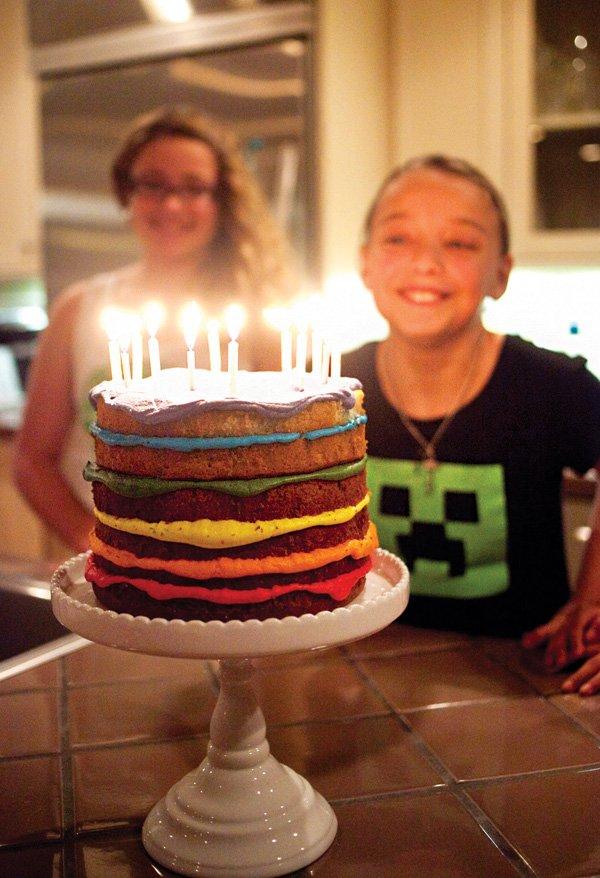 rainbow frosting layer birthday cake