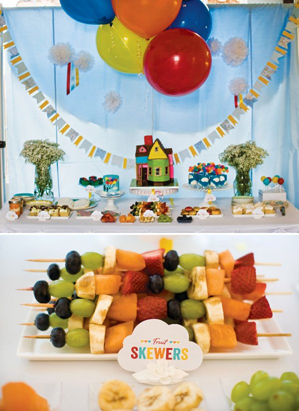 rainbow fruit skewers for an up themed birthday party and gender reveal
