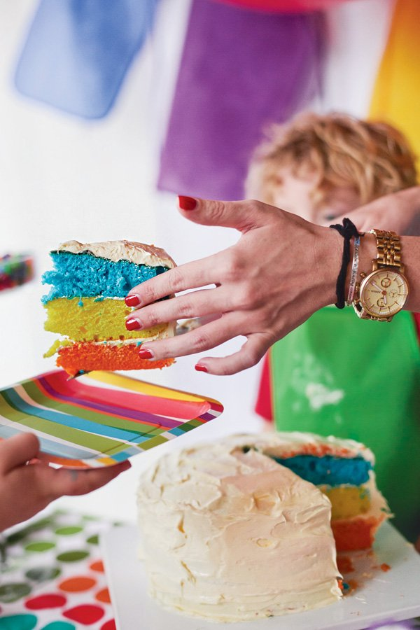 primary colors rainbow layer birthday cake