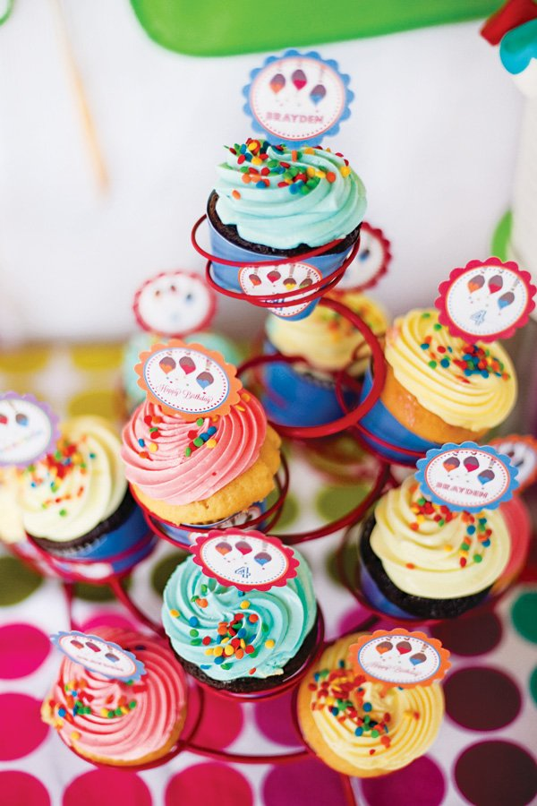 rainbow sprinkle cupcake tower