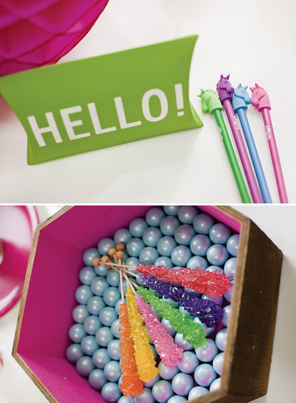 rainbow unicorn party favors and rainbow rock candy