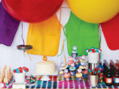 rainbow art party dessert table