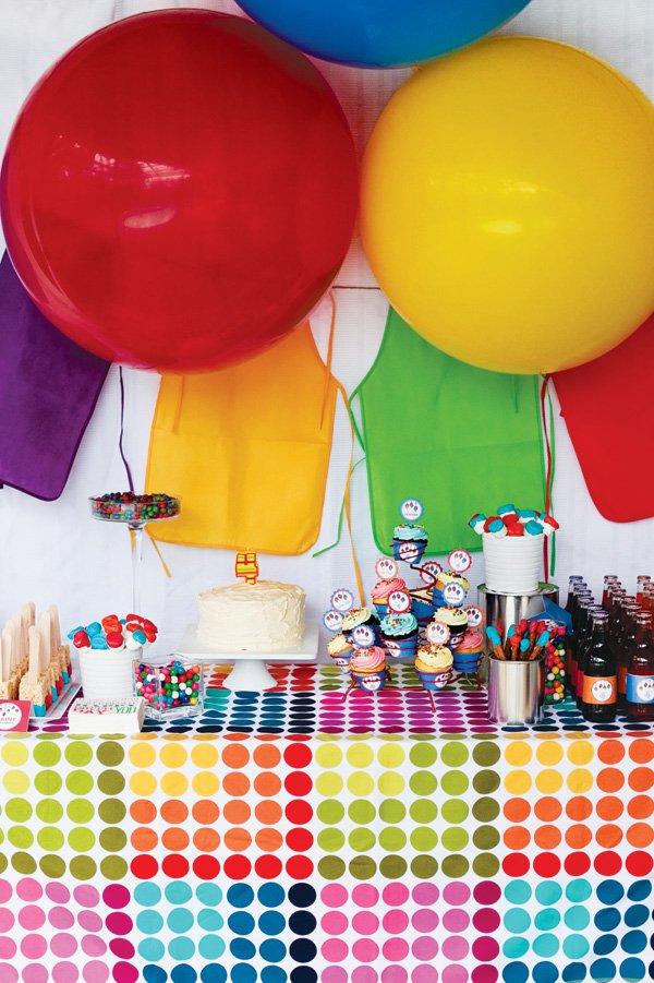 rainbow art party dessert table