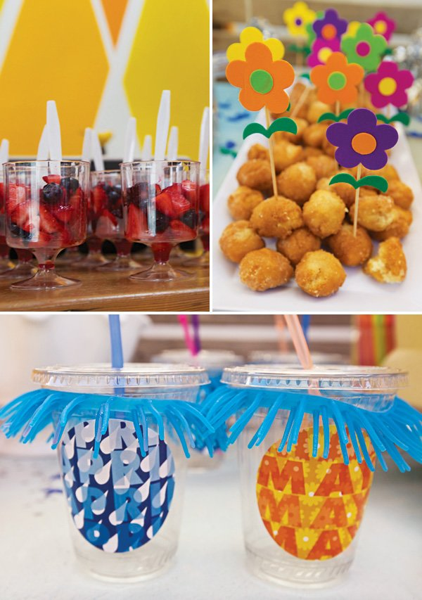 raindrop bracelets and flower toothpick topped party snacks