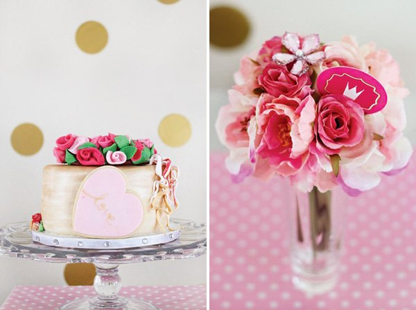 pink and red fondant rose bouquet topped metallic gold cake