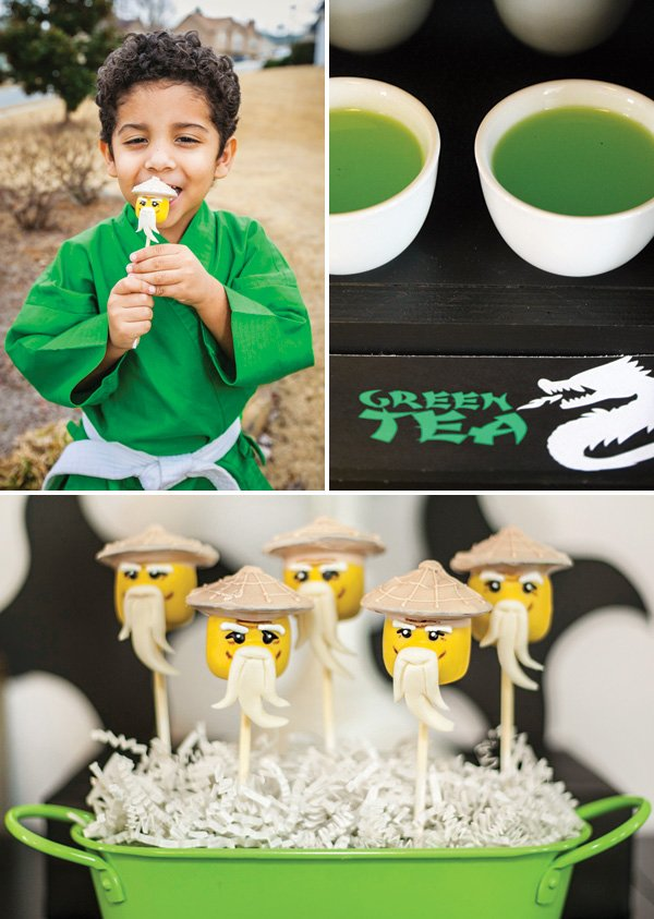 green tea juice party drink and sensei wu cake pops
