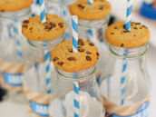 sesame street milk bottles and chocolate chip cookies