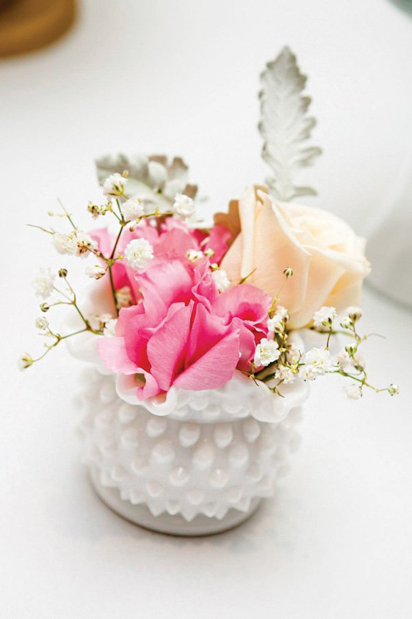 short pink floral arrangements