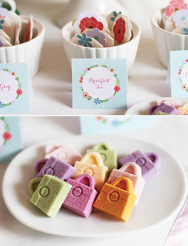 customized tea bags and sugar purses