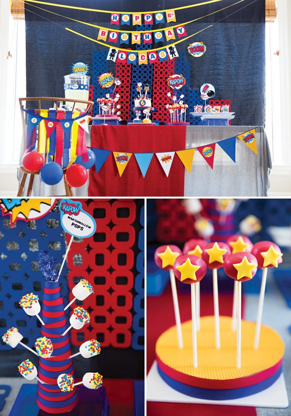 super hero dessert marshmallow pops and cake pops