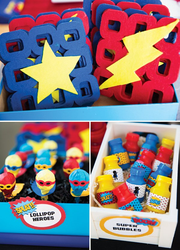 DIY super hero lollipop party favors