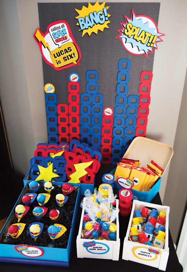 superhero party favor table