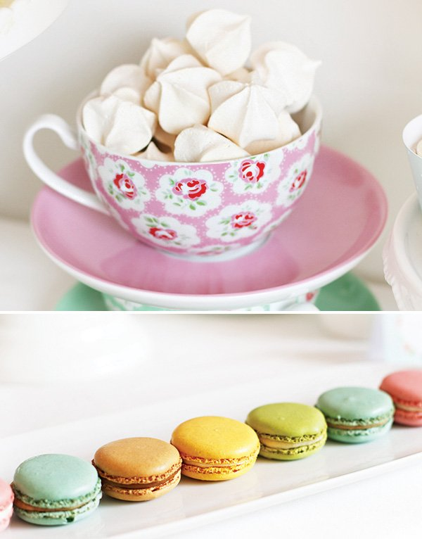 tea cup meringues and rainbow macarons