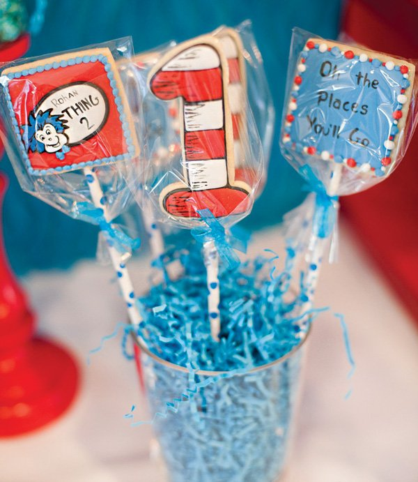thing 1 and thing 2 red and blue cookies